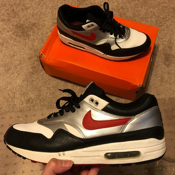 56f2c71a2c835 Nike Shoes | Air Max 1 Size 11 Varsity Red Silver Black | Poshmark